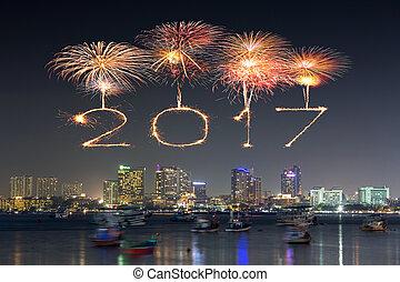 2017 Happy New Year Fireworks over Pattaya beach at night, Thailand
