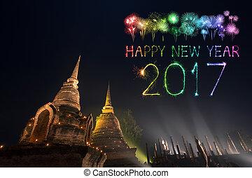2017 Happy New Year Fireworks over Sukhothai historical park,Thailand.