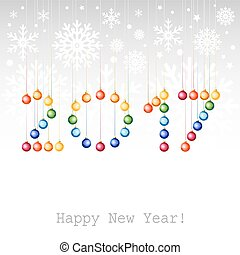 2017 Happy New Year greeting card or background with Christmas balls.