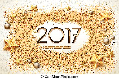 2017 Happy New Year calligraphy with star and pearl...