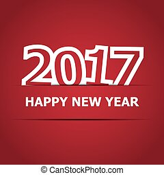 2017 Happy New Year on red background