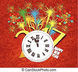 2017 Happy New Year with clock