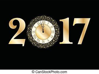 2017, heureux, année, nouveau