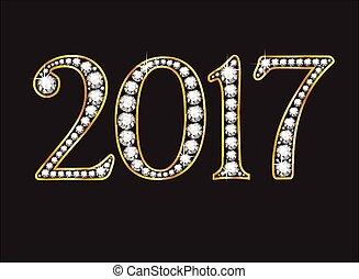 2017 in Diamond Jeweled Font - 2017 in stunning Diamond...