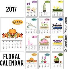 2017, jahr, kalender, mit, jahreszeit, blumen