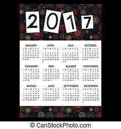 2017, jednoduchý, povolání, stěna kalendář, s, nárys, barva, květinový charakter, eps10