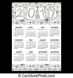 2017, jednoduchý, povolání, stěna kalendář, s, nárys, květinový charakter, eps10