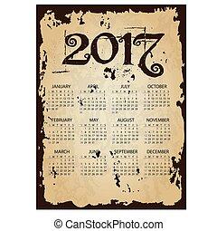 2017, jednoduchý, povolání, stěna kalendář, s, příč.min. od tear, dávný, noviny, grafické pozadí, eps10