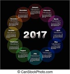 2017., kalender, färgrik
