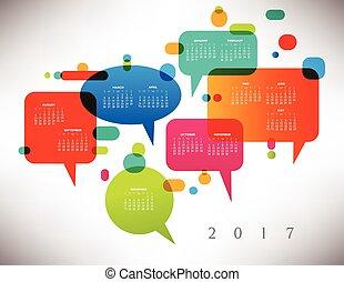 2017, kalender, färgrik, skapande