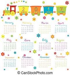 2017, kalender, met, de trein van het stuk speelgoed, en, bloemen