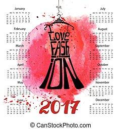 2017, loccsanás, fekete, naptár, year., vízfestmény, lettering., ruha