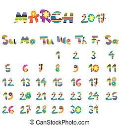 2017, mars, calendrier