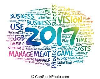 2017, metas, palavra, nuvem, conceito negócio