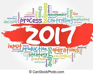 2017, metas, plano, projeto, palavra, nuvem