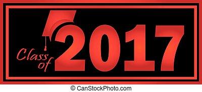 2017, nero, classe, graduazione, rosso