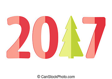 2017 New Year and Christmas concept, 3D rendering