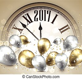 2017 New Year background with clock. - 2017 Year background...