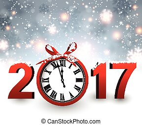 2017 New Year background with clock. - 2017 New Year blue...