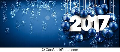 2017 New Year blue banner. - 2017 New Year blue banner with...