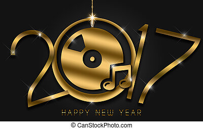2017 New Year Card - Gold New Year numerals on a black...