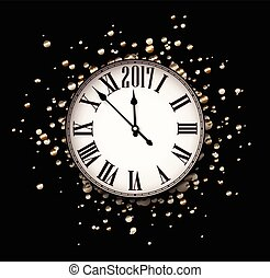 2017 New Year card with clock.