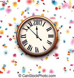 2017 New Year clock background. - 2017 New Year round clock ...