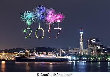 2017 New Year Fireworks over marina bay in Yokohama City,...
