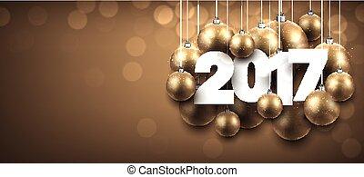 2017 New Year golden banner.