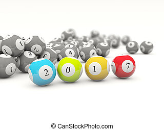 2017 New year lottery balls isolated on white