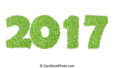2017, New year made from the green grass, isolated on white can use as abstract background