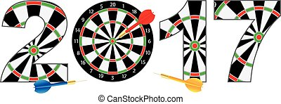 2017 New Year Number Outline Dartboard