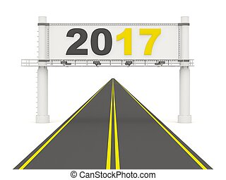 2017 New year on road sign.