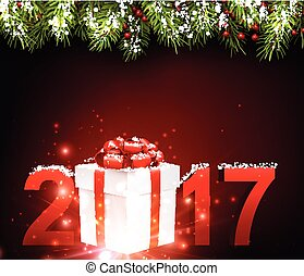2017 New Year red background.