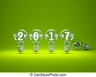 2017 New Year sign inside light bulbs