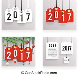 New Year Text Symbol Paper Labels Set Template Vector Illustration