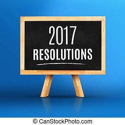 2017 New year's resolutions word on Blackboard with easel on vivid blue studio backdrop, New year planning