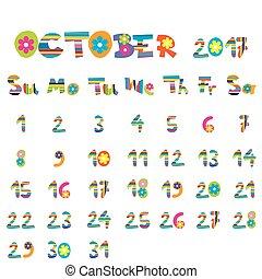 2017, octobre, calendrier