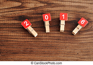 2017 on a wooden background