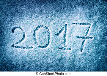 2017 on the Snow - Message handwritten on the snow for 2017...