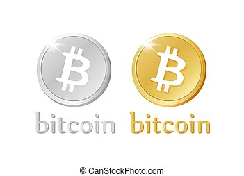 Bitcoin money stylized gold and silver icons. Crypto- internet or electronic coin. Isolated vector sign for business