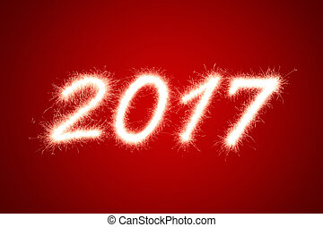 2017 - Happy new year 2017 written with Sparkle firework