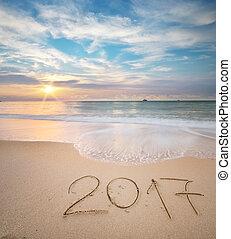 2017, shore., morze, rok