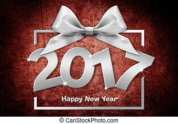 2017 silver happy New year text isolated on red grunge background