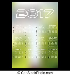 2017 simple business wall calendar abstract blur color background eps10