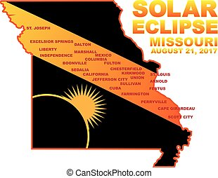 2017 Solar Eclipse Across Missouri Cities Map Illustration