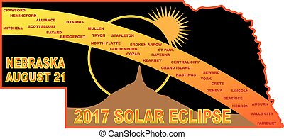 2017 Solar Eclipse Across Nebraska Cities Map Illustration -...