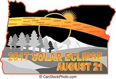 2017 Solar Eclipse Across Oregon Cities Map Illustration