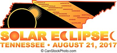 2017 Solar Eclipse Across Tennessee Cities Map Illustration