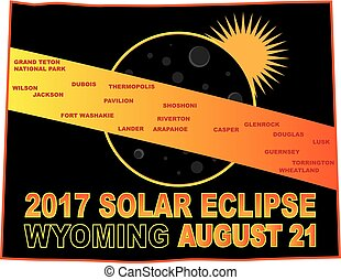 2017 Solar Eclipse Across Wyoming Cities Map Illustration -...